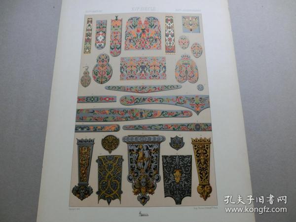 【百元包邮】《16世纪:神话、人物、纹饰图案等》(XVI CENTURY)1885年 石版画 石印版画 大幅 纸张尺寸41.3×28.8厘米  (编号S000285)