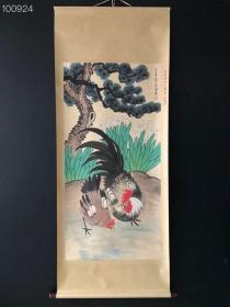 AB089【徐悲鸿】鸡,四尺纯手绘作品,尺寸:202*88cm左右,画芯尺寸:134*67cm