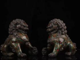 景泰蓝狮子一对摆件长20厘米