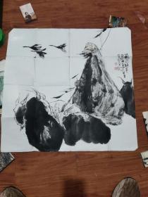 四川著名书画家 费丛高国画人物一幅(约70CM.67CM)2
