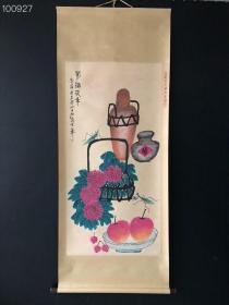 AB086【齐白石】虫草,四尺纯手绘作品,尺寸:202*88cm左右,画芯尺寸:134*67cm