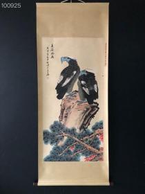 AB088【李苦禅】双鹰,四尺纯手绘作品,尺寸:202*88cm左右,画芯尺寸:134*67cm
