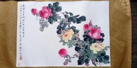 民国时期活跃于粤港的著名画家,广东台山陈仲文精品设色花鸟斗方