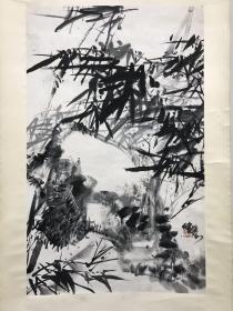 著名画家舒传曦竹石图 90x55cm 立轴