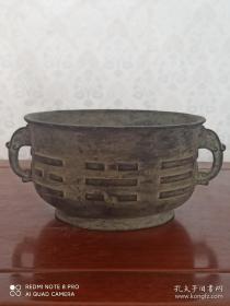古玩收藏 铜器 铜香炉 尺寸长宽高:18/14/8厘米 重量:2.8斤