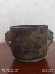 古玩收藏 铜器 铜香炉 尺寸长宽高:13/10/8.5厘米 重量:2.8斤