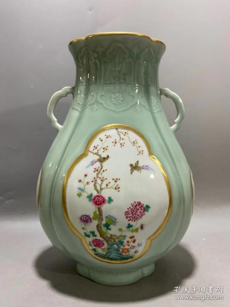 龙泉窑官窑彩绘瓶,年龄大了留着没用了.低价出