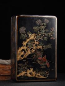 老漆器木胎描金漆器文房盒