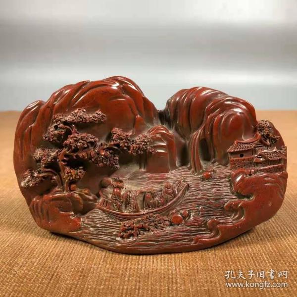 旧藏朱砂红寿山石泛舟访友山水山子印章摆件