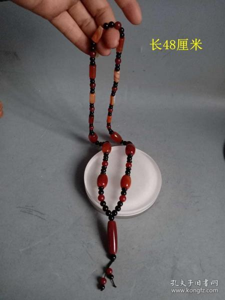 少见的清代传世老玛瑙天珠项链   . .