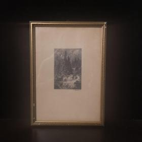 1847 德国现实主义学派、著名画家创始人安德烈亚斯·阿亨巴赫(andreas achenbach,1815-1910)制作的木刻版画原作,画家亲笔签名。外框尺寸30cmx21cm,版画尺寸11.5cmx8cm