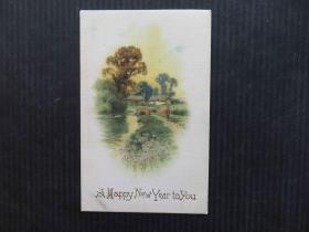 古典风情-欧美早期明信片-丝绸风景彩色外国明信片(少见难得收集)