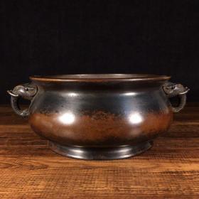 纯铜象耳香炉长21厘米,宽17厘米,口径13厘米,高7.5厘米重1614克