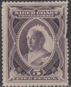 英联邦邮票E,英属尼日尔海岸保护国1894年维多利亚女王,5p