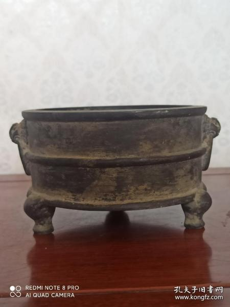 古玩收藏 铜器 铜香炉 尺寸:16/10/5.5厘米 重量:2.4斤