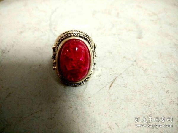 清代天然红松石戒指