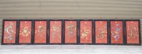 九龙瓷板画 掐丝珐琅挂屏