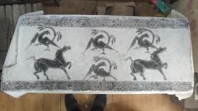 老农家遗留下来,汉代奔马凤鸟纹空心画像砖 沧桑感强烈,当桌面茶几琴砖极棒 长102+42+14cm