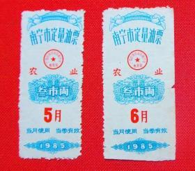 广西南宁油票1985年5.6月二张一起卖(农业)  (尺寸品相以实物为准)