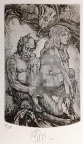 乌克兰鲁斯兰RuslanAgirba版画藏书票原作2精品收藏14.1*21.1cm