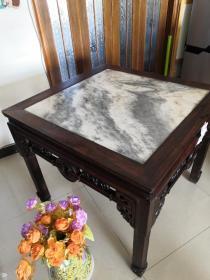古家具收藏~~~~~~~清代老红木方桌(原装大理石面,大拉钱,两节腿。稀见!!!)
