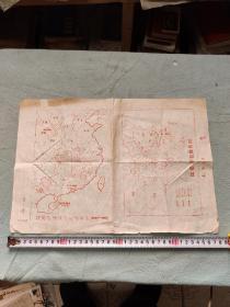 72年许广峰画农村革命根据地形势图,红军长征路线图