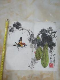 北京画家刘洋画一副(小品)――瓜熟蒂落