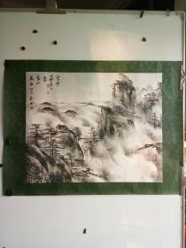 老山水画镜心 作者不识 画法特别 尺寸68x55