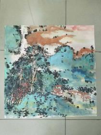 【保真】中美协会员 钟读明(笔名钟鸣) 四尺斗方写意山水画