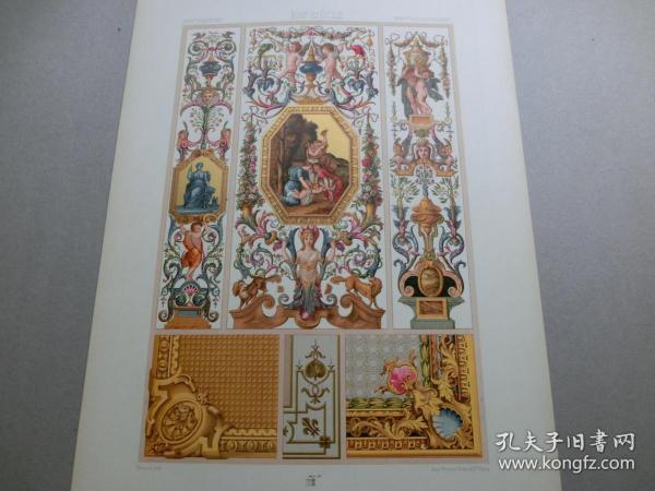 【百元包邮】《17世纪:天使、神话、纹饰图案等》17世纪-壁板画(XVII CENTURY)1885年 石版画 石印版画 大幅 纸张尺寸41.3×28.8厘米  (货号S000293)