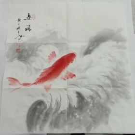 字画斗方吴定川国画乐游图