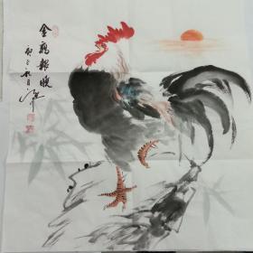 国画字画吴定川斗方金鸡报晓