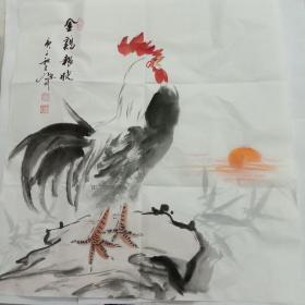 吴定川国画斗方金鸡报晓