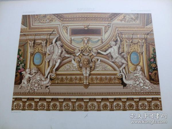 【百元包邮】《17世纪:天使、人物、纹饰图案等》17世纪-大型装饰布局,拱顶起拱石装饰(XVII CENTURY)1885年 石版画 石印版画 大幅 纸张尺寸41.3×28.8厘米  (货号S000295)