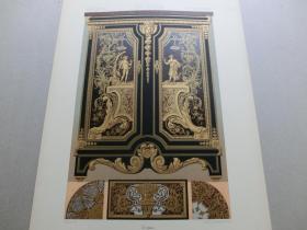 【百元包邮】《17世纪:人物、神话、纹饰图案等》17世纪-奢华家具,鎏金镂空雕工艺(XVII CENTURY)1885年 石版画 石印版画 大幅 纸张尺寸41.3×28.8厘米  (货号S000298)