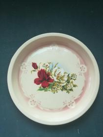 1965年,文革早期,山东济南搪瓷厂《鲜花(茶盘)》