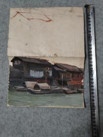 七八十年代 老旧水粉风景画 原稿 手绘真迹