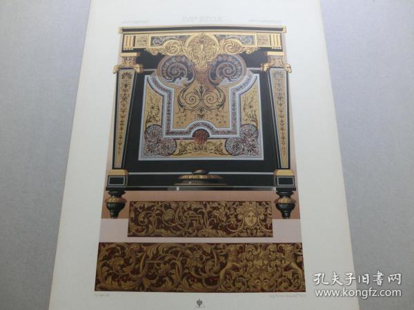 【百元包邮】《17世纪:动物、纹饰图案等》17世纪-金属细木镶嵌工艺、铜版雕刻工艺(XVII CENTURY)1885年 石版画 石印版画 大幅 纸张尺寸41.3×28.8厘米  (编号S000299)