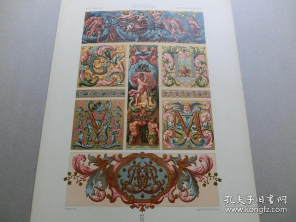 【百元包邮】《17世纪:天使、神话、狩猎、动物、纹饰图案等》17世纪-装饰画及细密画(XVII CENTURY)1885年 石版画 石印版画 大幅 纸张尺寸41.3×28.8厘米  (货号S000300)