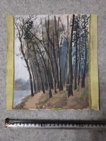 七八十年代 老旧水粉风景画 原稿真迹无签名