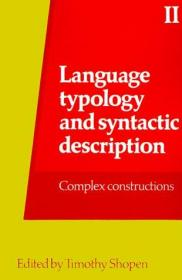 Language Typology And Syntactic Description,volume Ii