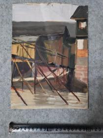 七八十年代 水粉风景画 无签名 原稿手绘真迹