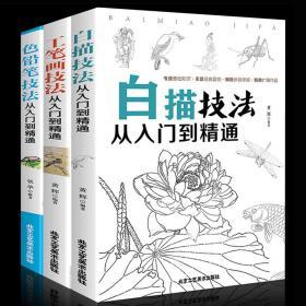正版3册 白描技法从入门到精通 工笔画技法从入门到精通 色铅笔技法从入门到精通 零基础国画教程 国画入门书美术绘画教材书籍