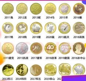 按图发货【十年纪念币24枚大全套】2011-2021年央行正宗保真全部纪念币大全套。生肖币党政军币。如图
