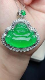 """翡翠冰种满绿925封底镶嵌伴钻""""佛公""""裸石水润通透,精致立体,完美无裂"""