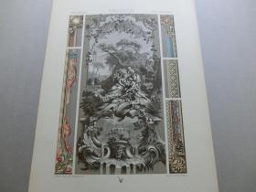 【百元包邮】《18世纪:人物、纹饰图案等》18世纪-装饰壁板,纷杂型图案(XVIII CENTURY)1885年 石版画 石印版画 大幅 纸张尺寸41.3×28.8厘米  (货号S000303)