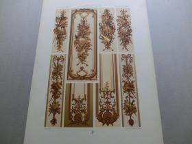【百元包邮】《18世纪:乐器、纹饰图案等》18世纪-护壁板装饰(XVIII CENTURY)1885年 石版画 石印版画 大幅 纸张尺寸41.3×28.8厘米  (货号S000305)