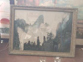 70-80年代,黄山风景丝织画一副
