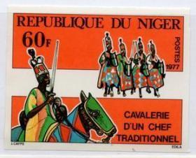 尼日尔邮票,1977年骑兵部队印样,非洲传统的酋长骑兵军队2