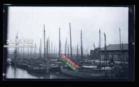 民国原版银盐照片底片一张,桅杆林立的港口码头